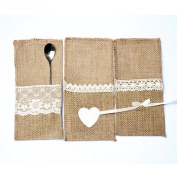 10pcs Packaging Fork & Knife Holder Pocket Vintage Jute Burlap Lace Chic Tableware Pouch for Wedding Party Decoration