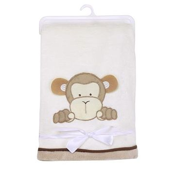 Baby Blankets - Free Shipping - Super Soft Polyester Baby Blanket - Cute Monkey
