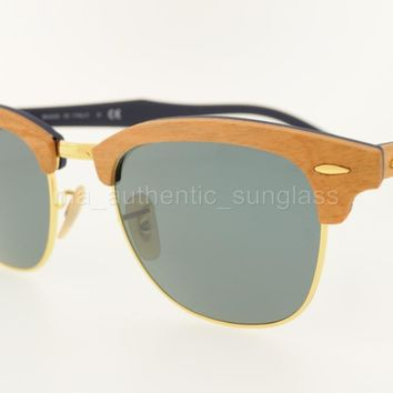 RAY-BAN SUNGLASSES RB 3016M 1180R5 51MM CHERRY FRAME GRAY LENS WOOD CLUBMASTER