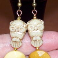 Natural Gemstone and Czech Owl Bead Pierced Hook Earrings,U PICK STONE