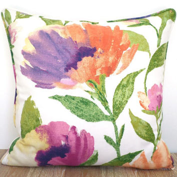 Big flower throw pillow case 20x20, floral pillow piping dorm room decor,purple sofa cushion, flower pillow sham gift idea for her