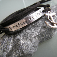 Motivational anchor wrap  bracelet, Stamped inspirational bracelet, Anchor bracelet, black faux suede cord
