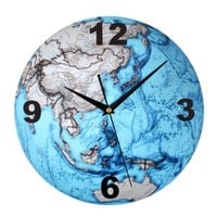 ZLYC Fashion Creative Blue Ocean Earth Globe World Map 12 Inch Non Ticking Ultra Silent Analog Quartz Round Wall Clock
