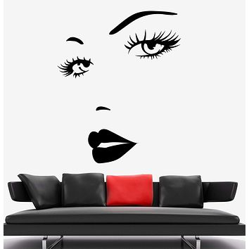 Wall Vinyl Decal Beautiful Face Sexy Face Decor Unique Gift z3746