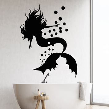 Vinyl Wall Decal Marine Sea Style Silhouette Mermaid Stickers (2304ig)