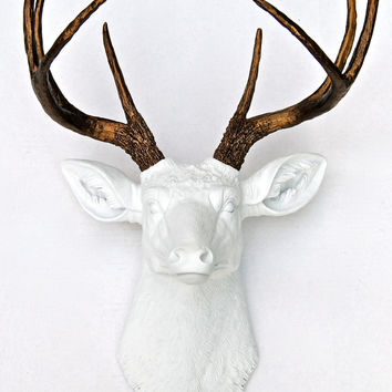 Deer Head - White with Bronze Antlers