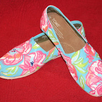 Hand painted Toms in a Lilly Pulitzer Floral design by 2PinkChix