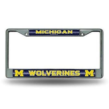 Michigan Wolverines NCAA Glitter Bling Chrome License Plate Frame Car Truck Wall