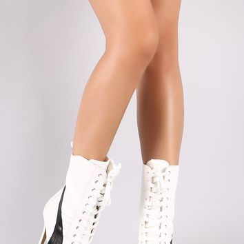 Two Tone Pointy Toe Lace Up Stiletto Sneaker Boots