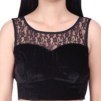 Indian Women's Black Velvet Stitched Wedding Bridal Saree Collar Blouse Crop Top BL13