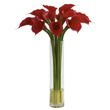 SheilaShrubs.com: Red Calla Lily w/Large Cylinder Vase 1347 by Nearly Natural : Artificial Flowers & Plants
