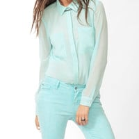 Sheer Pyramid Stud Shirt | FOREVER21 - 2021840396