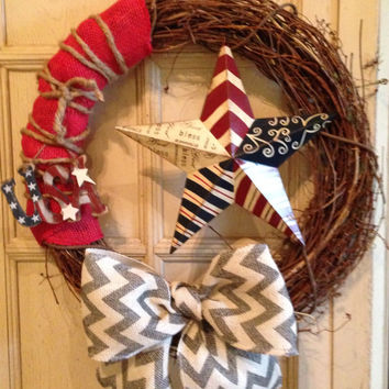 Patriotic Grapevine Wreath, America Wreath, July 4th Wreath, Memorial Day Wreath, Usa Wreath, Burlap Red White Blue Wreath, Military Decor