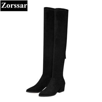 {Zorssar} 2018 New winter fur Women shoes pointed Toe Thick heel Knight boots Kid Suede High heels womens over-knee snow boots