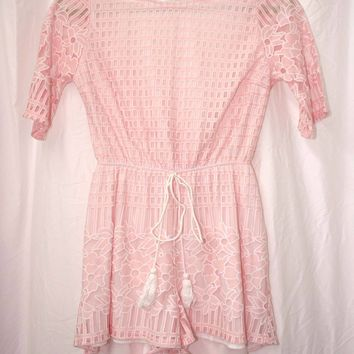 Floral Cutout Playsuit Romper in Soft Pink- Vintage (XS/S)