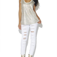 White Destroyed Skinny Jeans | Arden B.