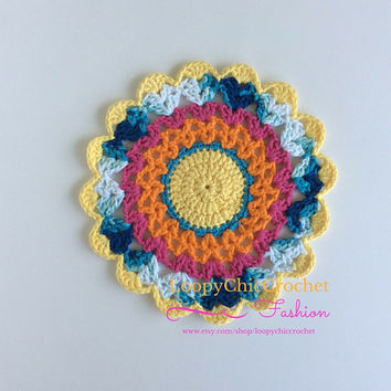 """10"""" Bright Crochet Mandala 10 """", Crochet Mandala, Mandala, Crochet, Crochet Doily, Crochet Doilies, Doily, Doilies, Home Decor, For the Home"""