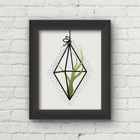 Air Plant Wall Art, Tillandsia Print, Terrarium Art, Air Plants Illustration, Botanical Print, Wall Art Prints, Green Floral Print - 8x10
