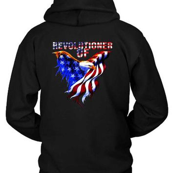 LMF1GW Revolutioner Of Usa Eagle Flag Hoodie Two Sided