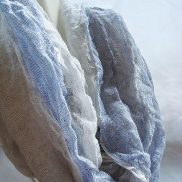 Blue, Silver, and White Infinity Scarf