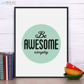 Minimalist Motivational Typography Life Awesome Quotes Art Print Poster Wall Picture Living Room Decor Canvas Painting No Frame