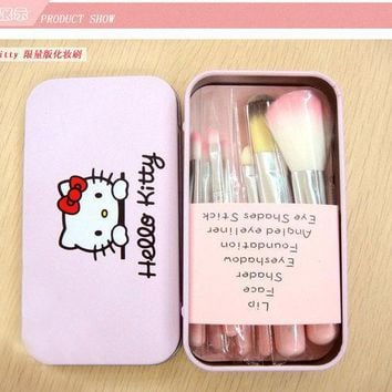 ICIKHY9 Newest makeup brushes Hello Kitty 7pcs mini brush pink kit Sets for eyeshadow blush Cosmetic Brushes Tool with metal box