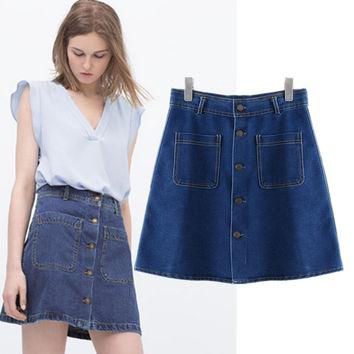 Stylish High Rise With Pocket Denim Women's Fashion Skirt [5013348484]