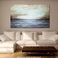 Large abstract landscape painting original 36 x 60 gray brown modern abstract art oil painting by L.Beiboer FREE SHIPPING