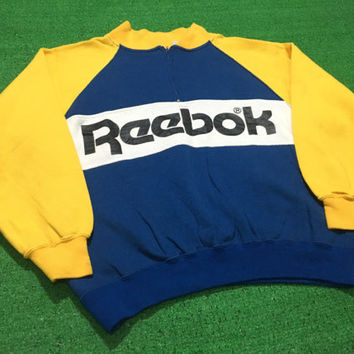 Vintage 90's Reebok Sweater 1/4 half zip spell out logo color block Good condition Gosha rubshinsky
