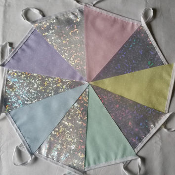 10ft/3m Bunting Pastel Dotty & Holo Frozen Ice-chip Fabric: Silver Anniversary Pennant; Unicorn Rainbow Garland, Pink Lemon Mint Blue Lilac