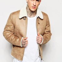 ASOS | ASOS Faux Suede Harrington With Shearling Collar In Camel at ASOS
