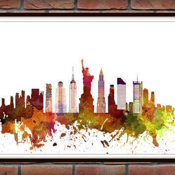 New York Skyline Print, Watercolor Art, New York Art, City Poster, City Skyline, Wall Art, New York Cityscape, Home Decor *12*