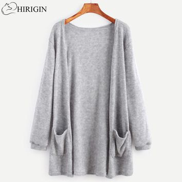 HIRIGIN 2017 Autumn Winter Women Crochet Knitted Long Cardigan With Pockets Gray Black Women Long Sleeve Sweater pull femme