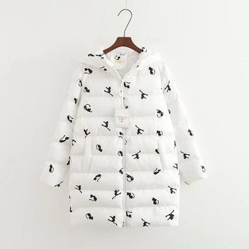 Winter Coat Self - Cultivation Hooded Cute Cat Printing Cotton Fashion Women 's Clothing Down Parka Female Jacket