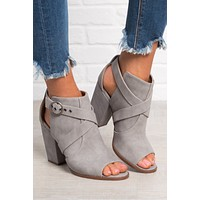 Cassie Faux Leather Bootie (Grey)