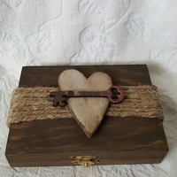 Rustic Wedding Ring Box Stained Aged Woodland Vintage Skeleton Key Heart