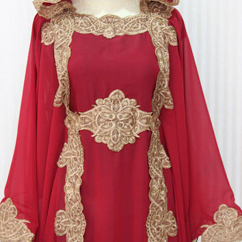 Red Maroon Hoodie Caftan Dress Dubai Gold Embroidery Petite Sheer Chiffon Wedding Kaftan Maxi Dress