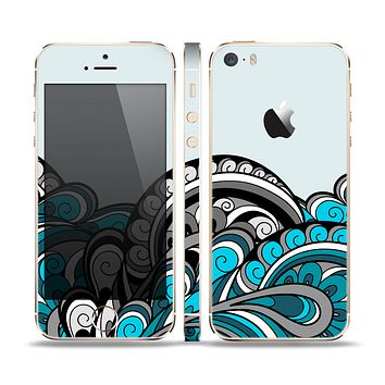 The Abstract Black & Blue Paisley Waves Skin Set for the Apple iPhone 5s Plus