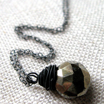 Pyrite Necklace, Metallic Gemstone, Fool's Gold, Oxidized Sterling Silver Chain - Foolish