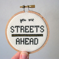 Ready to ship -- Streets Ahead cross stitch in hoop