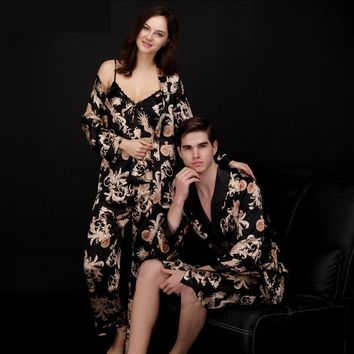 Luxury Paisley Pattern Kimono Robes Men's Silk Satin Nightgown Women Kimono Dressing Gown Bathrobe Sleepwear Pajamas Sets