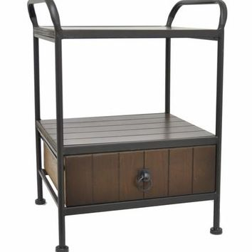 Benzara Durable Wood Side Table with Drawer