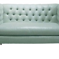 One Kings Lane - Lounge Around - Elizabeth Tufted Settee, Aqua