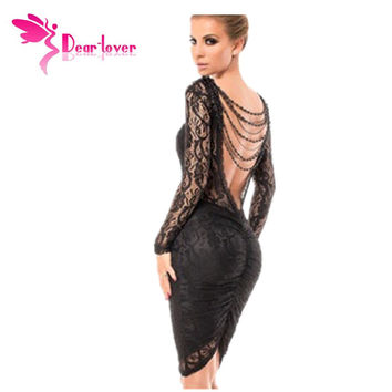 Dear-Lover Black Lace Dresses Vestido de renda Winter Elegant Robe Sexy Delicate Chained Long Sleeve Backless Midi Dress LC6755
