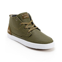 Emerica Troubador Leo Romero Olive & White Canvas Shoes at Zumiez : PDP