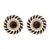 Black Faceted Stone Burst Stud Earrings by Charlotte Russe