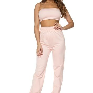 Walk it Talk it Terry Tube & Joggers Set Pink
