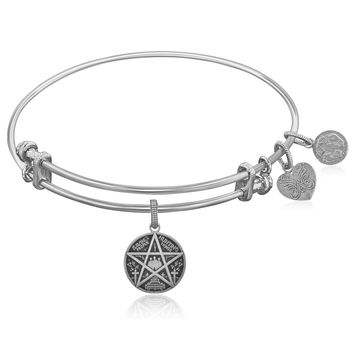 Expandable White Tone Brass Bangle with Supernatural Saving People, Hunting Things Symbol