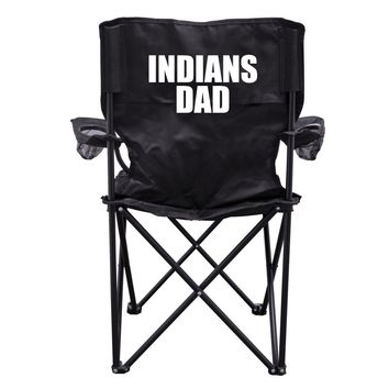 Indians Dad Black Folding Camping Chair with Carry Bag