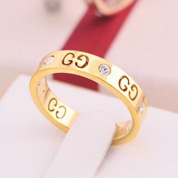 GUCCI Popular Ladies Men Logo Hollow Geometric Pattern Diamond Ring Titanium Steel Tail Ring Joint Ring Gold